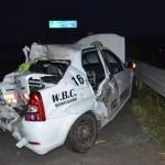 Autoturism acroșat de un TIR pe Autostrada A1