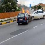 Incendiu izbucnit în urma unei tamponări între două autoturisme petrecută la Sebeș