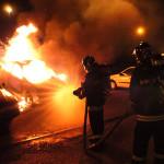 Intervenție a pompierilor din Sebeș după ce un autocamion a luat foc, pe Autostrada A1