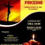 """Joi, 6 aprilie 2017: Concert de pricesne la Biserica Mare """"Învierea Domnului"""" din Sebeş"""