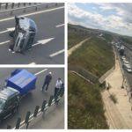Un minivan s-a răsturnat pe Autostrada A1, în zona localității Cut, după o coliziune cu un SUV