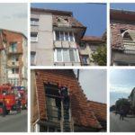 Intervenție a pompierilor militari în vederea înlăturării unor elemente desprise din acoperișul unui bloc situat pe Bulevardul Lucian Blaga, din Sebeș