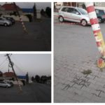 Un stâlp de electricitate rupt pune în pericol viața trecătorilor din Sebeș