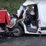 Autoutilitara pe care o conducea sebeșanul Călin Găldean, decedat în accidentul rutier petrecut în Germania, făcută aproape praf după ce s-a izbit de o automacara