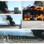 O cisternă încărcată cu vin s-a răsturnat pe Autostrada A1, în apropiere de Ocna Sibiului, și a luat foc