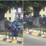 Suporții metalici pentru ghivecele cu mușcate, pe care Primăria Sebeș a platit 480.000 de lei, sunt rupți și ruginiți după doar un an